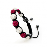 Bratara Shamballa Happy Red and White