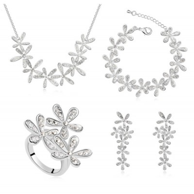 Set bijuterii Exquisite Silver Flowers